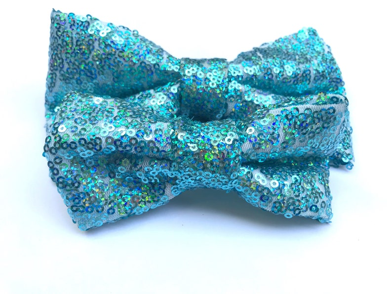 177971cc6f89 Baby Blue Sequin Dog Bow Tie Sequin Dog Bowtie Fourth of | Etsy