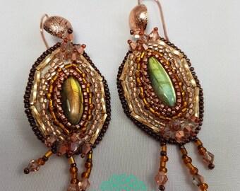 "Bead embroidery handmade earrings ""Strange earrings"""