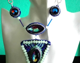 """Bead embroidery handmade  necklace """"Muse necklace"""""""
