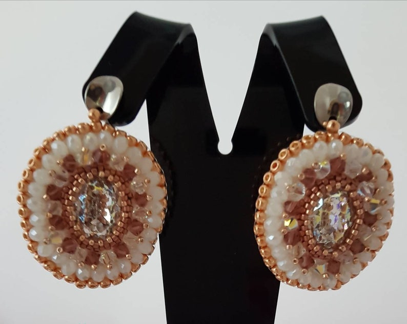 2ec302c52 Handmade oval earrings with Swarovski crystals realized in   Etsy