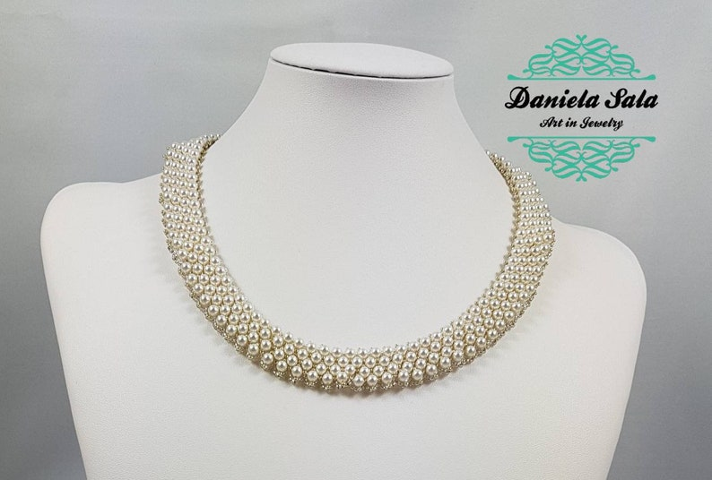 cb863a420fe handmade Swarovski pearls necklace , very elegant and precious gift for her  , made in Italy