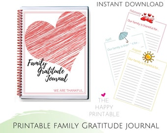 Gratitude Journal for Kids & Family Yearly 12-Month Printable ~ Instant Digital Download