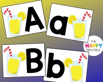 Classic Lemonade Alphabet Cards / ABC Flashcards / Preschool Sensory Writing Tray / Early Literacy Learning / Digital Download Printable