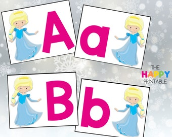 Frozen Princess Alphabet Cards / ABC Flashcards / Preschool Sensory Writing Tray / Early Literacy Learning / Digital Download Printable
