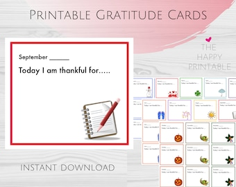 """Gratitude """"I Am Thankful For..."""" 12-Month Printable Cards for Kids & Families ~ Digital Instant Download"""