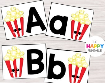 Buttered Popcorn Alphabet Cards / ABC Flashcards / Preschool Sensory Writing Tray / Early Literacy Learning / Digital Download Printable