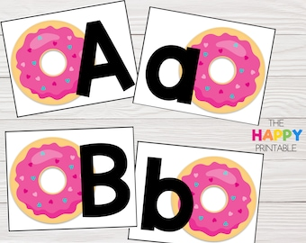 Sprinkle Donut Alphabet Cards / ABC Flashcards / Preschool Sensory Writing Tray / Early Literacy Learning / Digital Download Printable