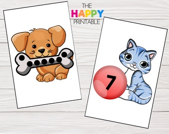 Dog & Cat Preschool Number Match Printable / Math Counting Learning Activity Cards / Instant Digital Download