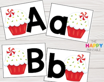 Peppermint Cupcake Alphabet Cards / ABC Flashcards / Preschool Sensory Writing Tray / Early Literacy Learning / Digital Download Printable