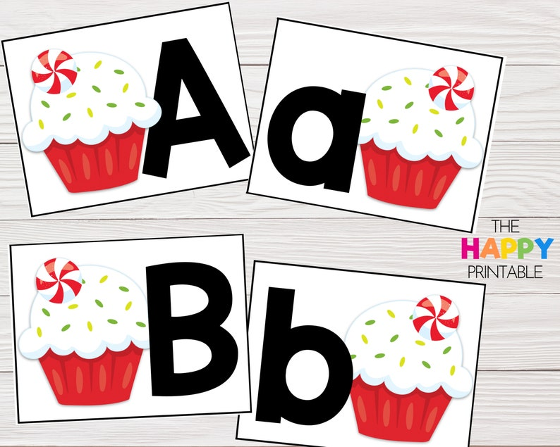 Peppermint Cupcake Alphabet Cards / ABC Flashcards / Preschool image 0