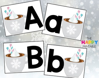 Hot Chocolate Cocoa Alphabet Cards / ABC Flashcards / Preschool Sensory Writing Tray / Early Literacy Learning / Digital Download Printable