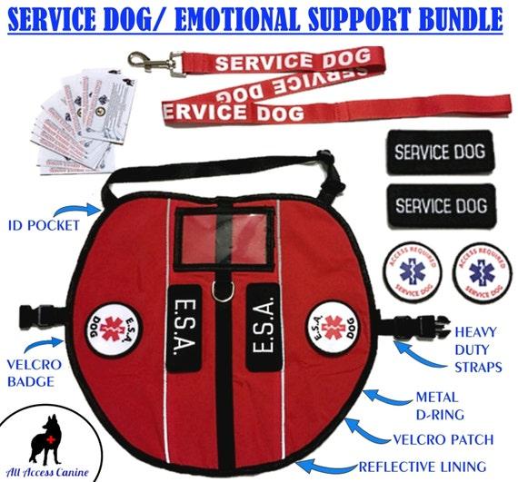 Tous les accès CANINE™ soutien émotionnel Animal (Esa) chien / chien gilet harnais réfléchissant sur mesure + 10 Ada libre accès et cartes d'entrée
