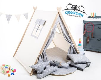 Kids teepee tent playhouse, grey stars tent for children, best birthday gift, kids tipi, kids tent, kids teepee, play tent, nursery decor
