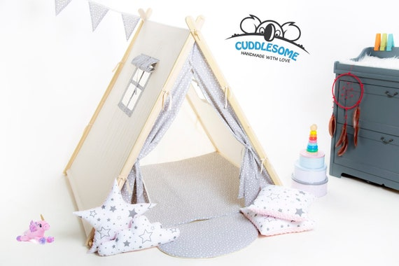 Grey teepee tent playhouse for kids by Cuddlesome