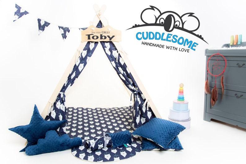 Joli tipi bleu marine pour enfant - Créatrice ETSY : MyCUDDLESOME