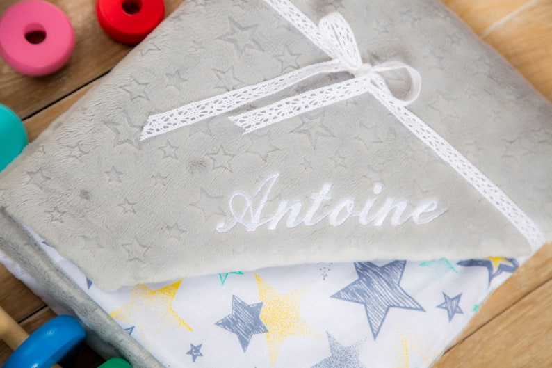 Grey stars baby blanket perfect gift for baby shower by Cuddlesome Minky blanket Bed throw
