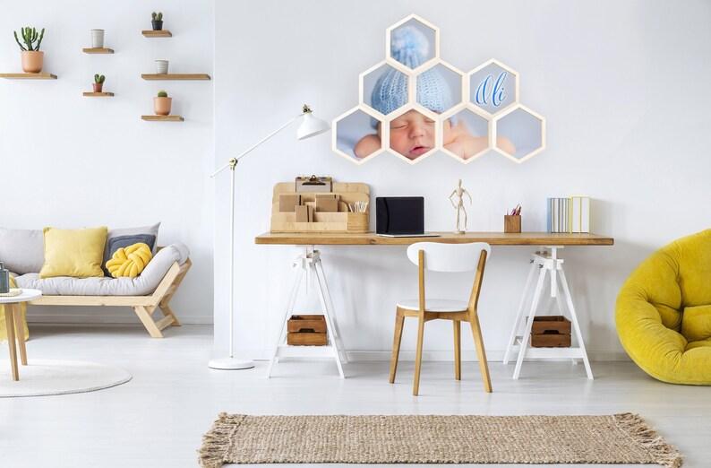 Cadre photo personnalisé en nid d'abeille - Créatrice ETSY : MyCUDDLESOME
