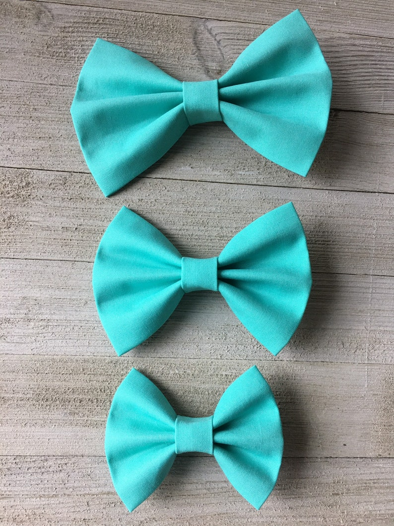 cotton baby bows hair bows Bright Blue fabric hair bow Solid multiple sizes available baby girl bows
