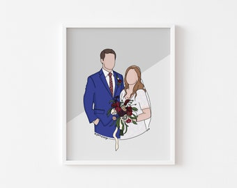 Custom Portrait Illustration | Digital Faceless Portrait | Wall Art