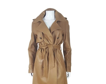 CHANEL Tan Lambskin Leather Trench Coat (36)