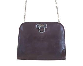 SALVATORE FERRAGAMO Vintage Brown Leather Chain Handle Gancio Shoulder Bag bf267a736e716