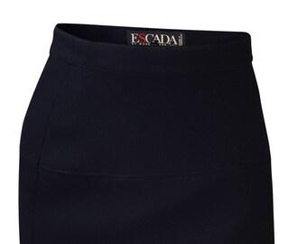 ESCADA Black 100% Wool Kilt Mini Skirt (34)