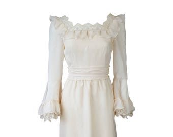b88eec2c7b6 HARRODS Vintage Ivory Cotton Blend Wedding Dress (UK 8)