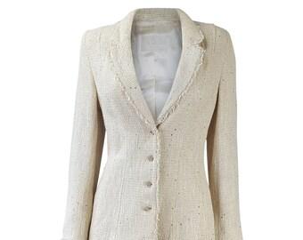 CAROLINE CHARLES Vintage Cream Waffle Two Piece Skirt Suit (UK 12)