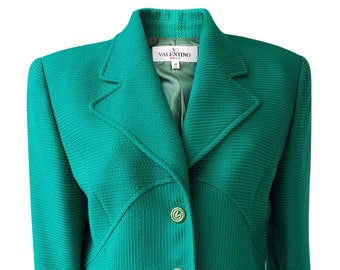 VALENTINO Vintage Miss V Green Wool Jacket (UK 12)
