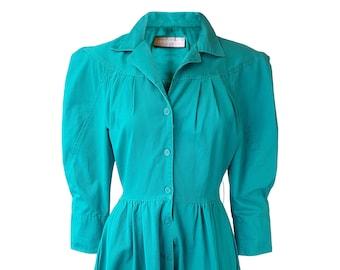 CAROL ANDERSON Vintage Green Long Sleeved Tea Dress (UK 10)