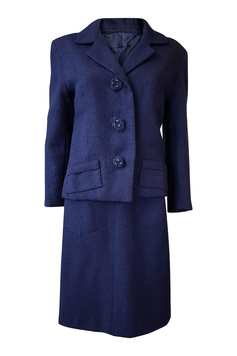 M UNLABELLED Vintage Navy Blue Wool Skirt Suit
