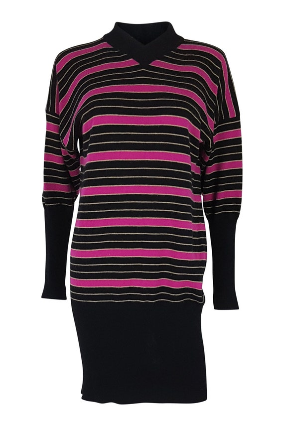 JEAN MUIR Vintage Cashmere Striped Dress (M)