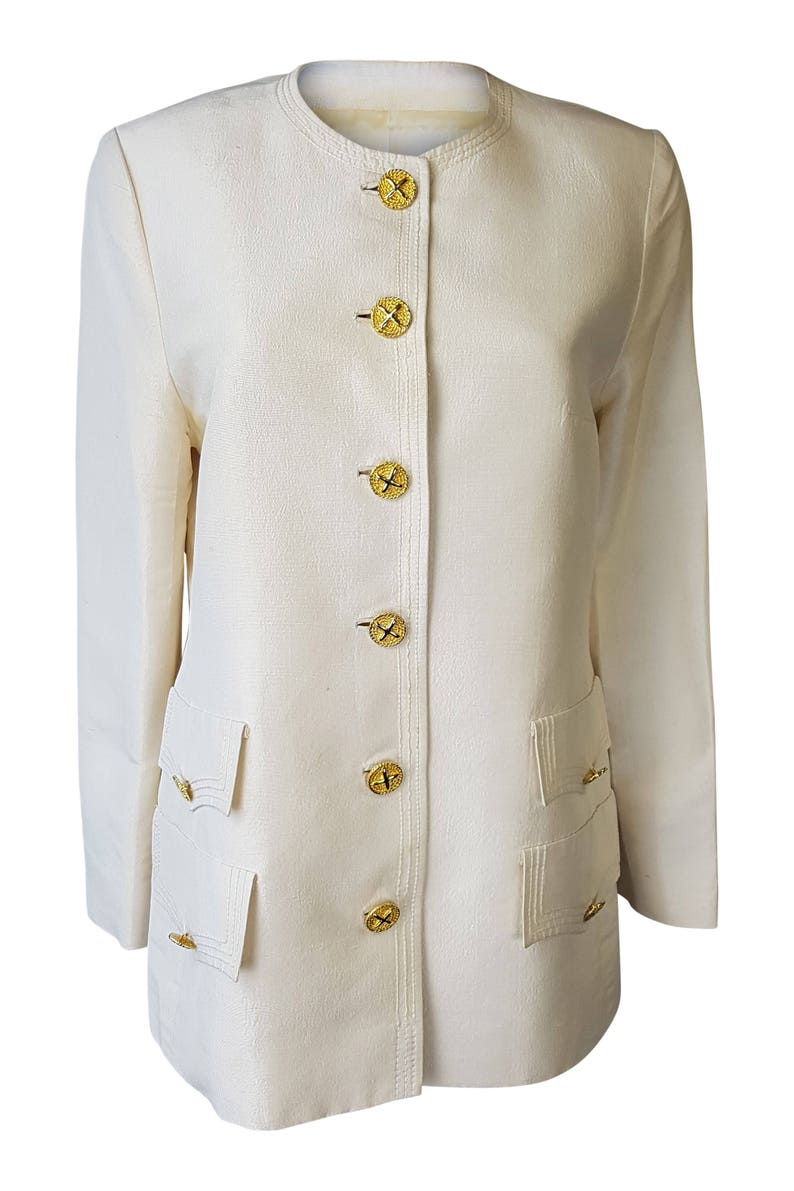 4dc33047a4c VINTAGE Cream Silk Blazer With Gold Engraved Buttons | Etsy