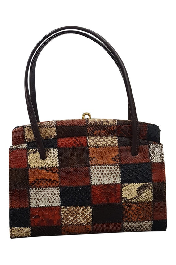 VINTAGE 1970s 1980s Real Leather Patchwork Snakesk
