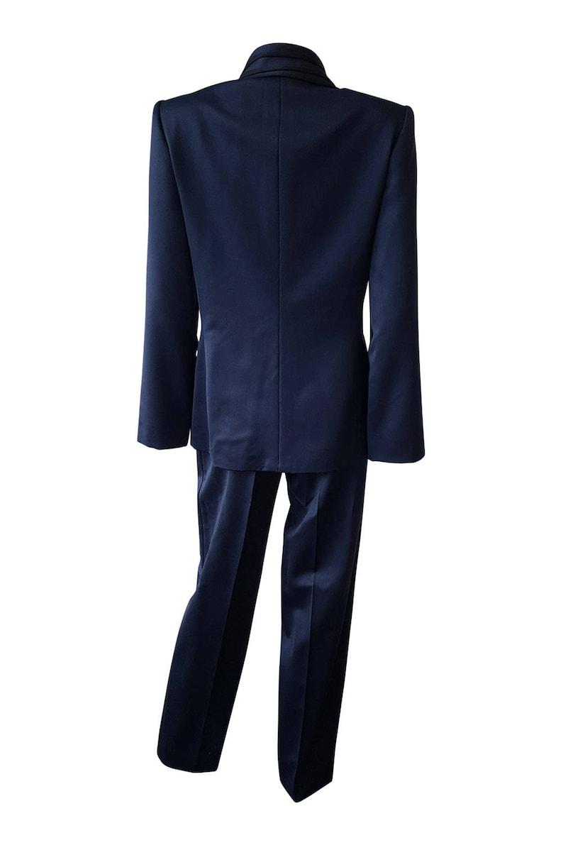 LOUIS FERAUD Vintage Navy Blue Satin Suit S