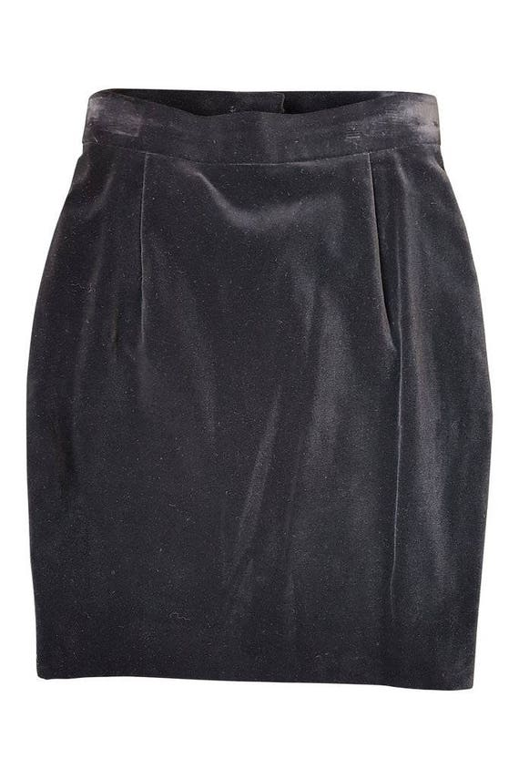 LOUIS FERAUD Black Suede Vintage Mini Skirt - Blac
