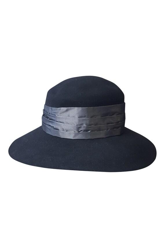 b1489216 YVES SAINT LAURENT Rive Gauche Vintage Black Felt Hat Silver | Etsy