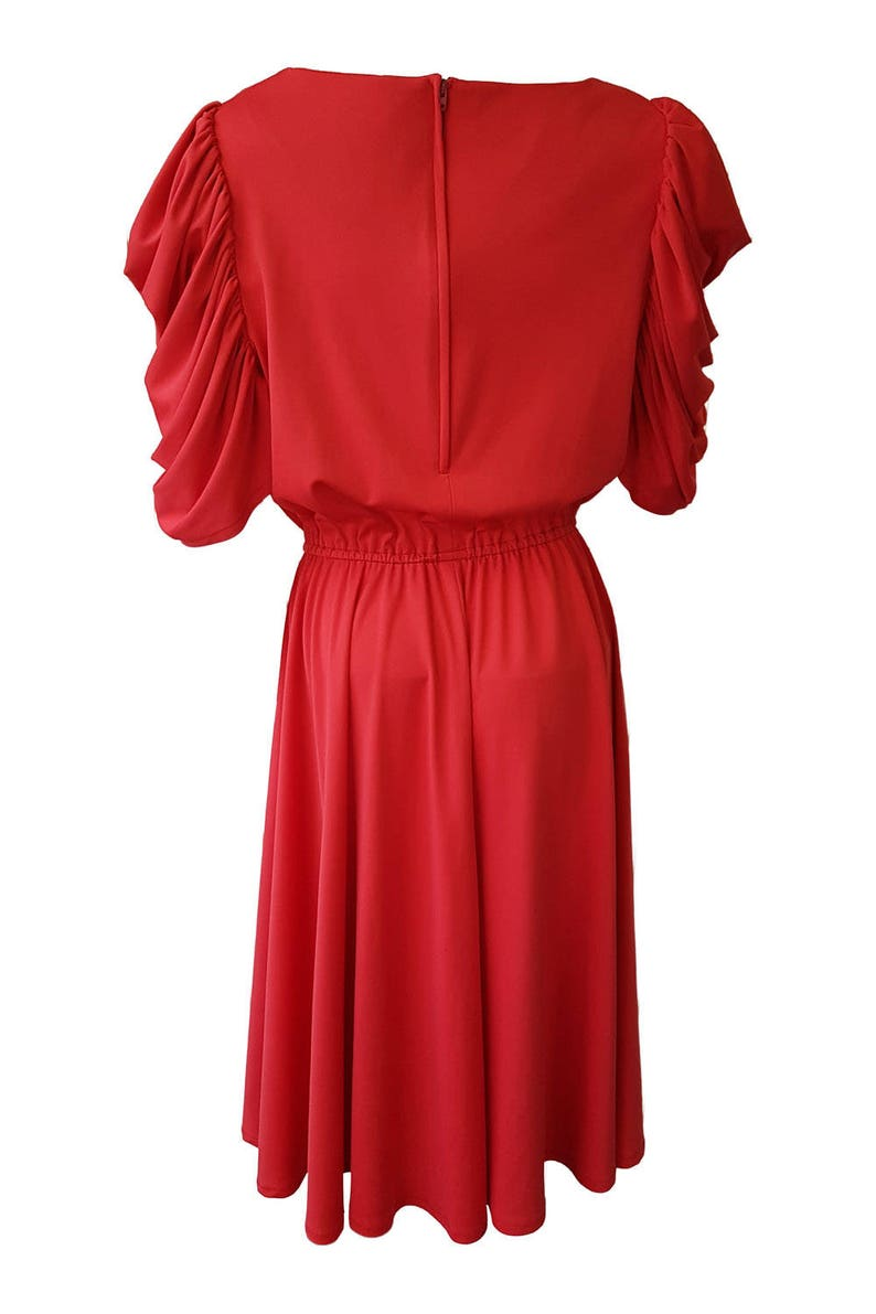 UNBRANDED Vintage Red Puffed Sleeved Diamante Bow Dress