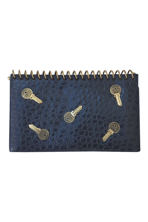 MOSCHINO Redwall Key Studded Leather Clutch Bag -