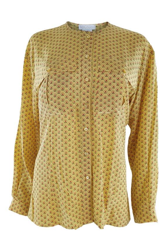 ESCADA Vintage Yellow Silk Collarless Shirt (36)