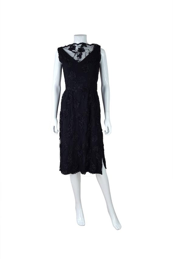 ESTEVEZ Vintage Lace Overlay Black Evening Dress (