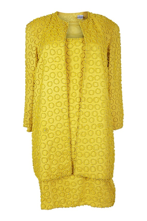 OLEG CASSINI Canary Yellow Silk Suit - 1980s Vinta