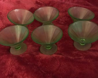 Vintage 1930 panaled shebert  dishes minty green