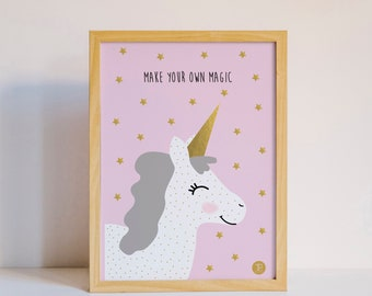 Unicorn poster, Star poster, Kids room poster, nursery poster, Pink, Gold, A3 poster, Girls poster, Animal poster, Baby poster, Kids poster