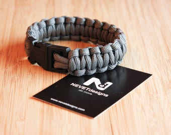 Grey Paracord Bracelet - Survival | Nautical | EDC | Climbing | Rope | Mens | Fashion
