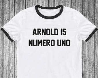 Arnold is numero uno 1 gym tshirt workout t-shirt ringer retro style tee