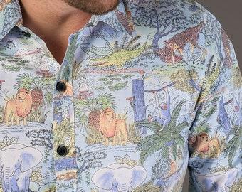 8f4b5627 Mens 100% Cotton Long Sleeve Slim Fit Shirt Jungle Lion Elephant Animal  Blue Print