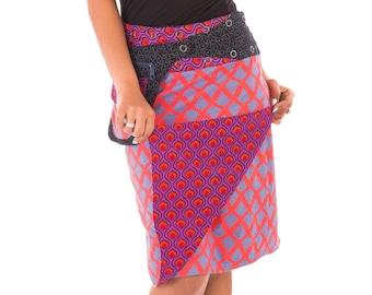 Reversible Cotton Skirt Purple Red Black Blue Print with Detachable Pocket Long Length