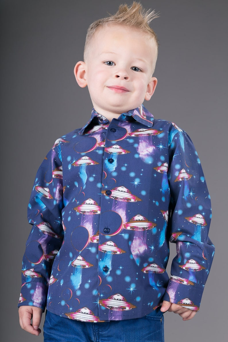 Boys Cotton Shirt Spaceships Print Ages 4 to 11 years