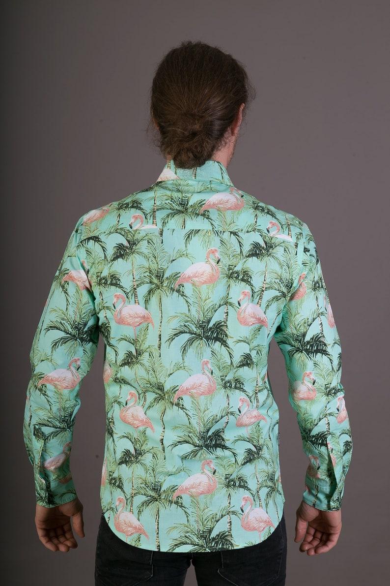 Mens 100/% Cotton Long Sleeve Slim and Regular Fit Shirt Green Pink Flamingo Floral Print